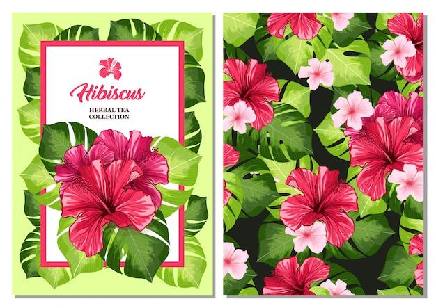 Tarjeta de folleto o folleto de té con flor de fragancia roja de hibisco hawaiano.