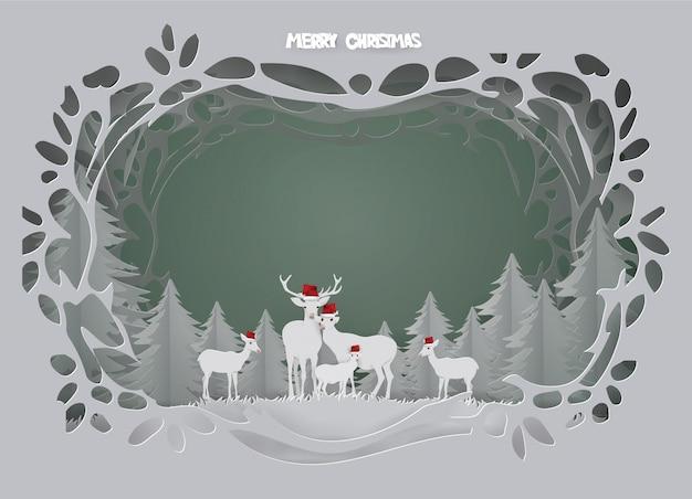 Tarjeta de fondo abstracto con la familia de los ciervos viven en el bosque en temporada de invierno.
