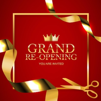 Tarjeta de fondo de felicitación de gran inauguración con cinta de confeti dorado