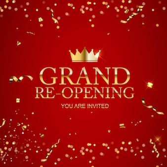 Tarjeta de fondo de felicitación de gran inauguración con confeti dorado