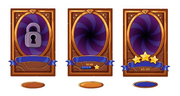 Tarjeta de fondo de nivel para diseño de interfaz de usuario de juegos móviles. victoria cinta bruja estrellas. conjunto de botones aislado sobre fondo blanco colores bronce, morado y azul.