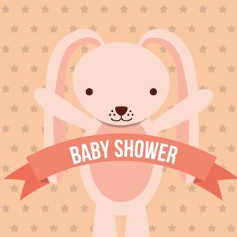 Tarjeta de fondo de puntos de cinta de conejito rosa de ducha de bebé