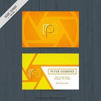 Tarjeta de fotógrafo abstracta amarilla