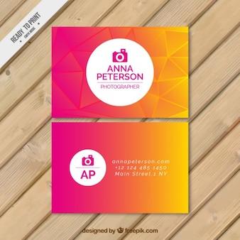 Tarjeta de fotógrafo abstracta colorida