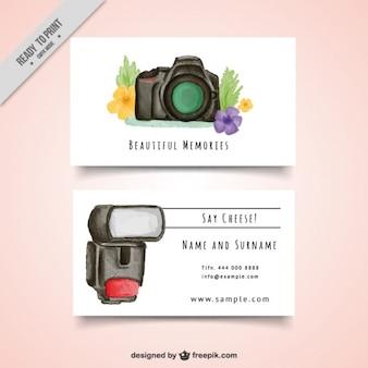 Tarjeta de fptografía de acuarela con cámara