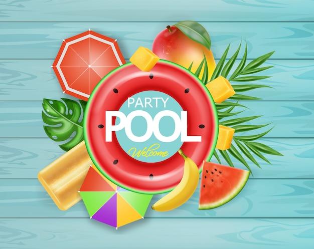 Tarjeta de frutas tropicales de piscina de verano.