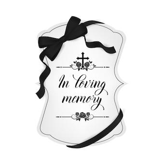 Tarjeta de funeral, tipografía de condolencia vintage vector con adorno de flores color de rosa, florituras y cinta de luto obituario con cruz