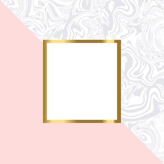 Tarjeta geométrica rosa y mármol con marco dorado.