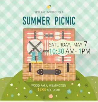 Tarjeta de glade de picnic familiar