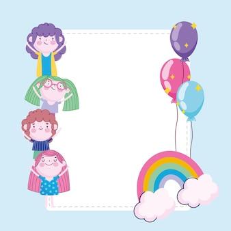 Tarjeta de globos de arco iris de dibujos animados de niños y niñas, ilustración de niños