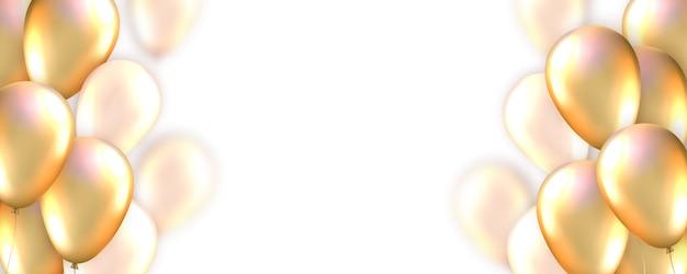 Tarjeta con globos dorados realistas y copia espacio