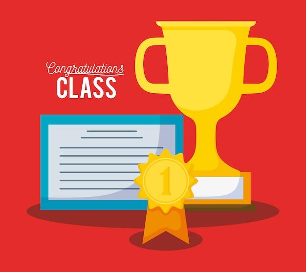 Tarjeta de graduación de celebración de clase con diploma y trofeo.