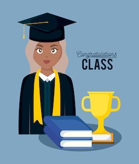 Tarjeta de graduación de celebración de clase con niña graduada