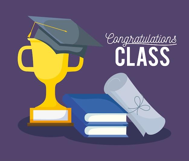 Tarjeta de graduación de celebración de clase con sombrero y trofeo