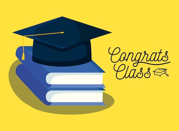 Tarjeta de graduación con libros y sombrero de graduación.