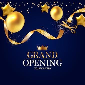 Tarjeta de gran inauguración con cinta dorada y tijeras