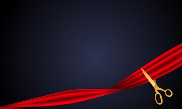 Tarjeta de gran inauguración con cinta y fondo de tijeras.