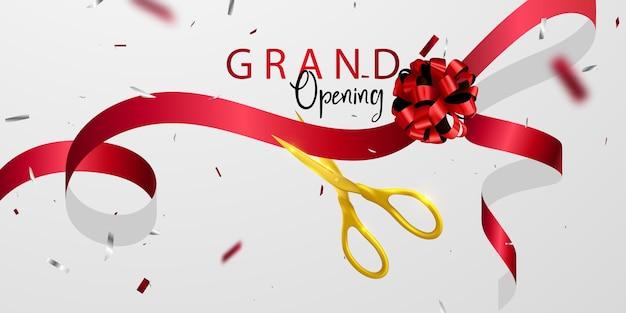 Tarjeta de gran inauguración con plantilla de marco de brillo de fondo de cinta roja.