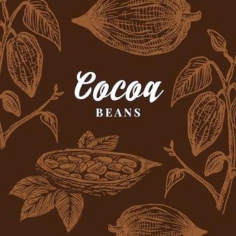 Tarjeta de granos de cacao dibujados a mano. fondo abstracto del bosquejo del cacao