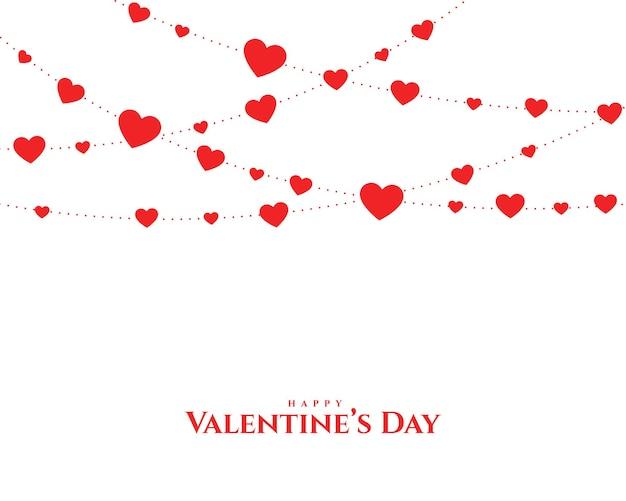 Tarjeta de guirnalda de corazones de san valentín