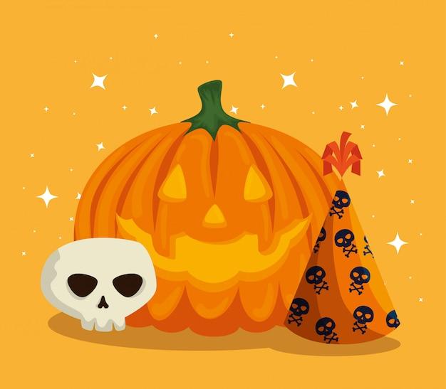 Tarjeta de halloween con calabaza y calavera