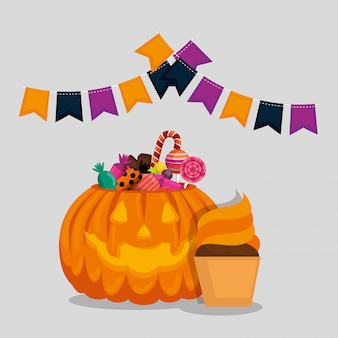 Tarjeta de halloween con calabaza y dulces