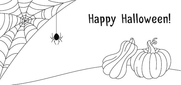 Tarjeta de halloween calabaza telaraña y araña doodle dibujo banner calabazas araña aterradora