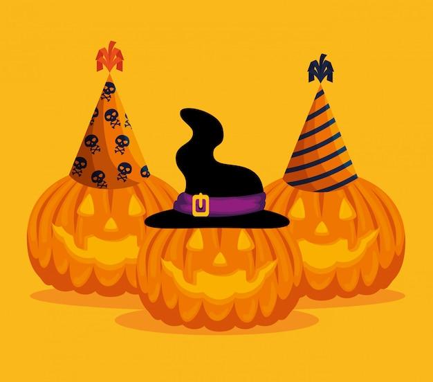 Tarjeta de halloween con calabazas y sombreros
