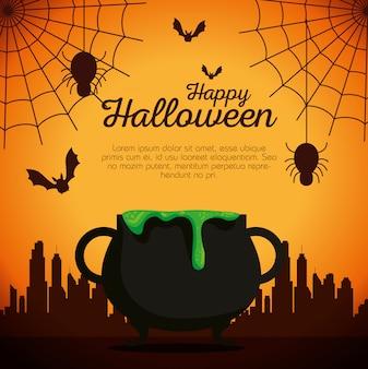 Tarjeta de halloween con caldero y arañas