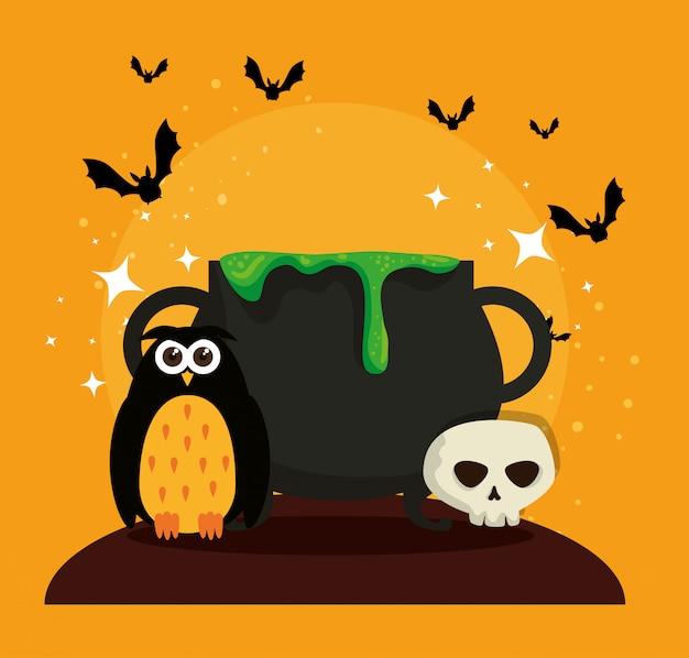 Tarjeta de halloween con caldero y búho