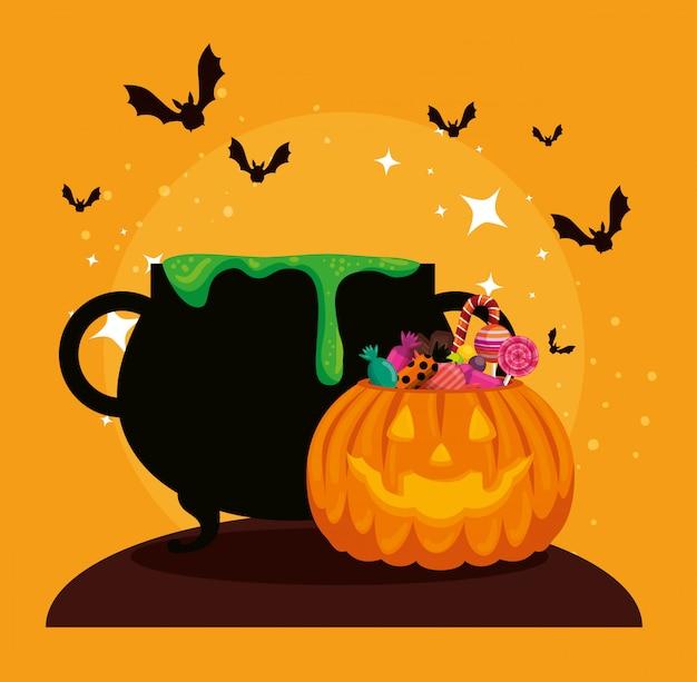 Tarjeta de halloween con caldero y calabaza