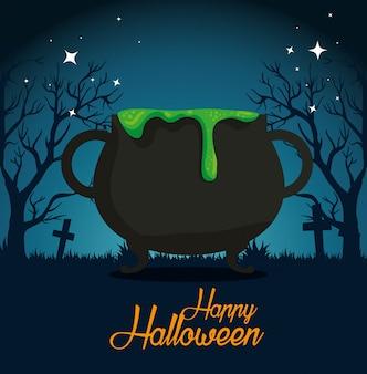 Tarjeta de halloween con caldero en cementerio