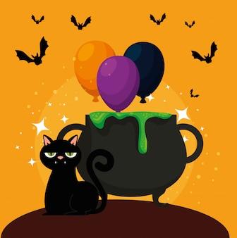 Tarjeta de halloween con caldero y gato negro