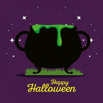 Tarjeta de halloween con caldero