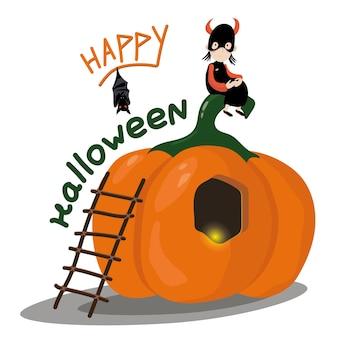 Tarjeta de halloween de la casa de calabaza