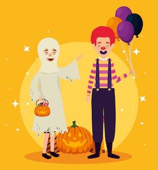 Tarjeta de halloween con disfraz de fantasma y payaso
