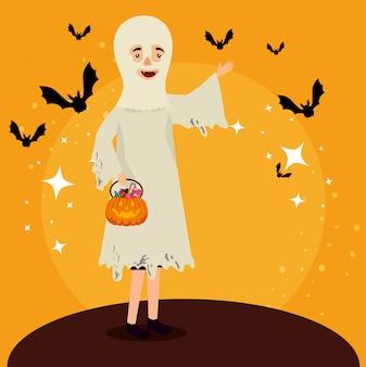 Tarjeta de halloween con disfraz de fantasma