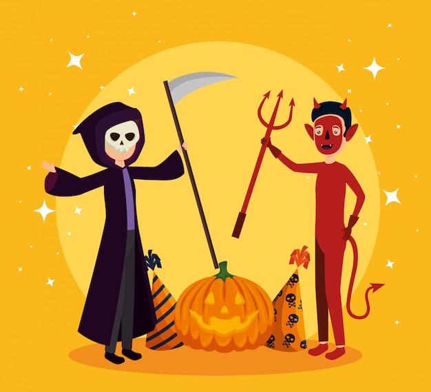 Tarjeta de halloween con disfraz de muerte y demonio