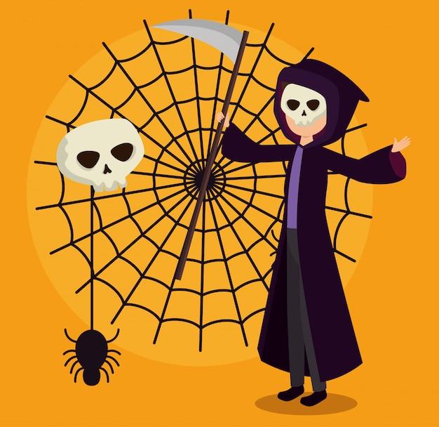 Tarjeta de halloween con disfraz de muerte y telaraña