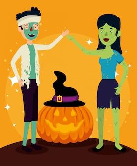 Tarjeta de halloween con disfraz de zombie y calabaza