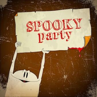 Tarjeta de halloween envejecida con fantasma