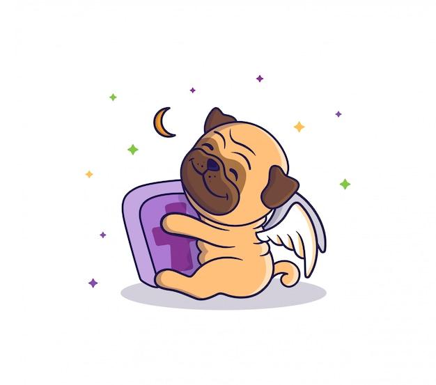 La tarjeta de halloween es un perro-ángel que abraza una tumba y está sentado cerca de la luna y las estrellas. lindo pug, personaje de dibujos animados