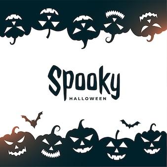 Tarjeta de halloween espeluznante con murciélagos y calabazas aterradoras