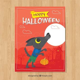 Tarjeta de halloween con hombre lobo y luna llena