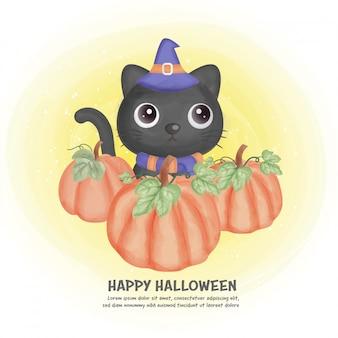 Tarjeta de halloween ingenio lindo gato.