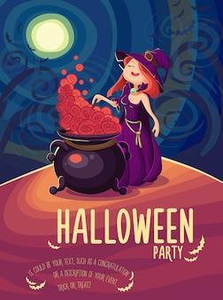 Tarjeta de halloween linda joven bruja