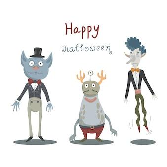 Tarjeta de halloween con monstruos y vampiros