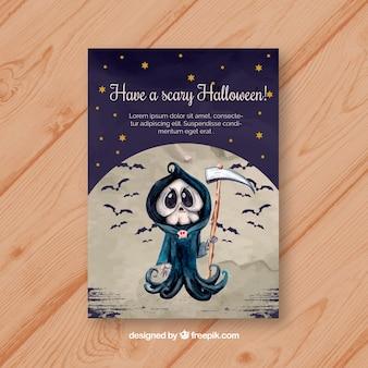 Tarjeta de halloween con la muerte en acuarela