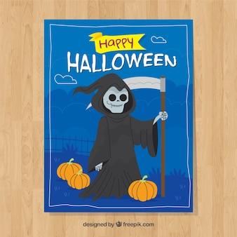 Tarjeta de halloween con la muerte