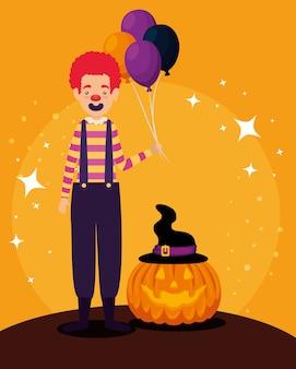 Tarjeta de halloween con personaje de calabaza y payaso